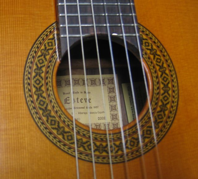 Close up view of Mosiacs in Rosette of Octave Guitar